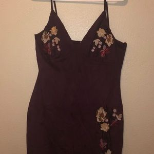 Plum Colored Floral Embroidered Dress